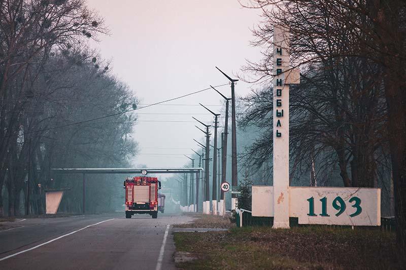 Организация помощи пожарным для тушения очагов возгорания в Чернобыле