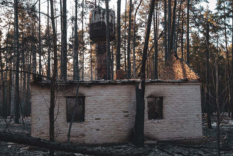 После пожара в Чернобыльской зоне. База отдыха Изумрудное